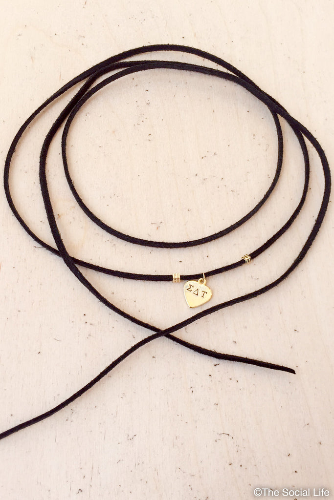 Sigma Delta Tau Leather Wrap Necklace