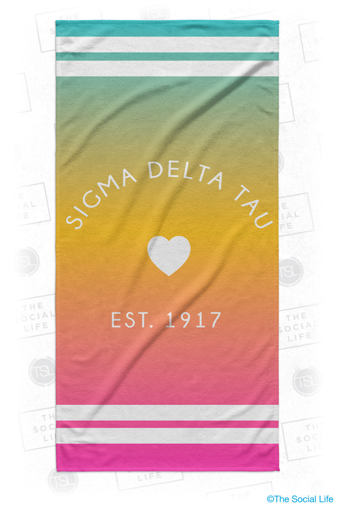 Sigma Delta Tau Rainbow Heart Beach Towel