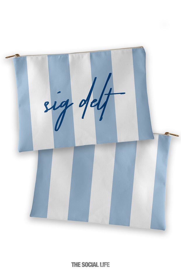 Sigma Delta Tau Striped Cosmetic Bag