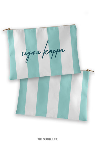 Sigma Kappa Striped Cosmetic Bag