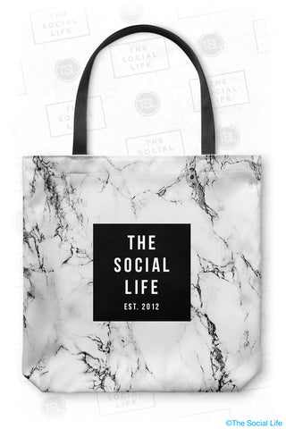 The Social Life White Marble Tote Bag