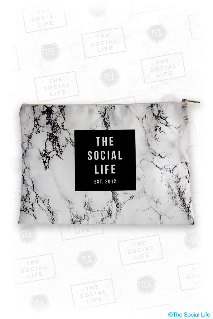 The Social Life White Marble Cosmetic Bag
