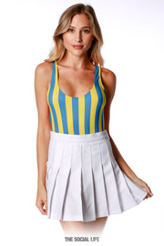 Game Day Striped Bodysuit - Blue / Yellow