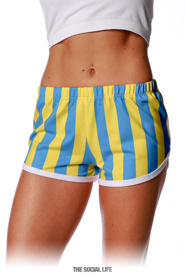 Game Day Striped Retro Shorts - Blue / Yellow