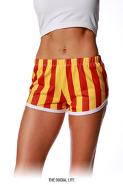 Game Day Striped Retro Shorts - Cardinal / Gold