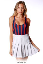 Game Day Striped Bodysuit - Red / Navy
