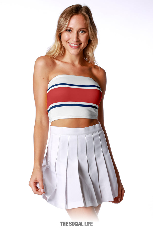 Game Day Tube Top (Reversible) - White / Red / Navy