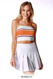 Game Day Tube Top (Reversible) - White / Orange / Maroon