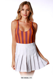 Game Day Striped Bodysuit - Orange / Maroon