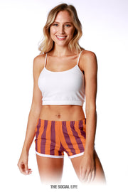 Game Day Striped Retro Shorts - Orange / Maroon