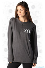 Chi Omega Simple Letters Henley