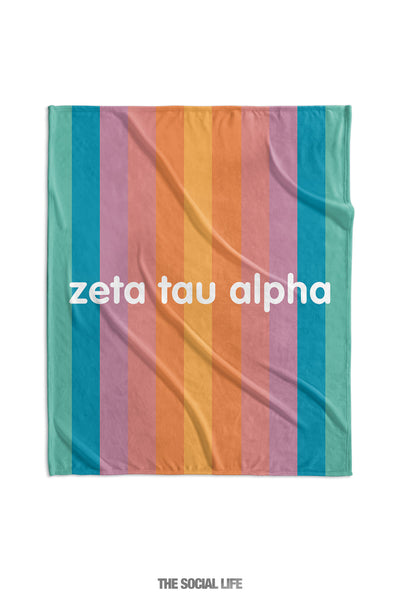 Zeta Tau Alpha Horizon Stripe Velvet Plush Blanket