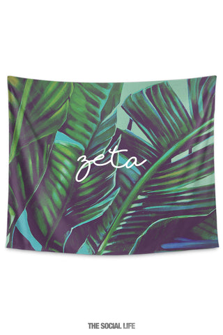 Zeta Tau Alpha Painted Palms Tapestry