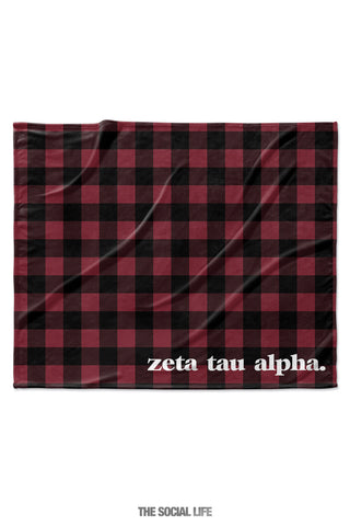 Zeta Tau Alpha Plaid Velvet Plush Blanket