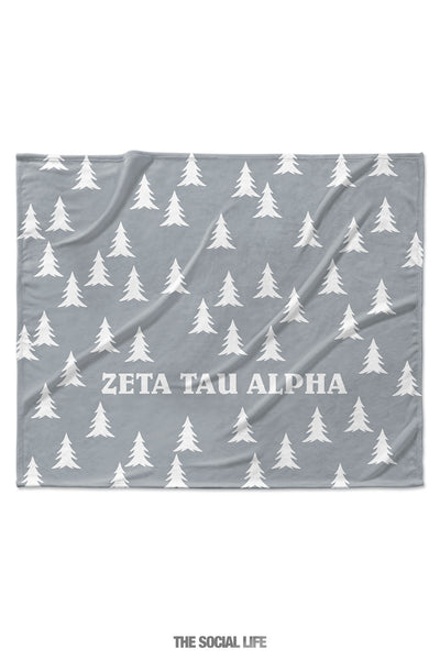 Zeta Tau Alpha Grey Pines Velvet Plush Blanket