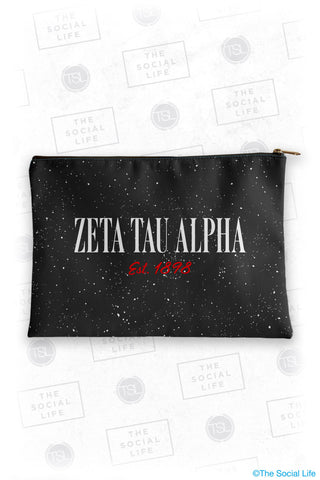 Zeta Tau Alpha Speckle Cosmetic Bag