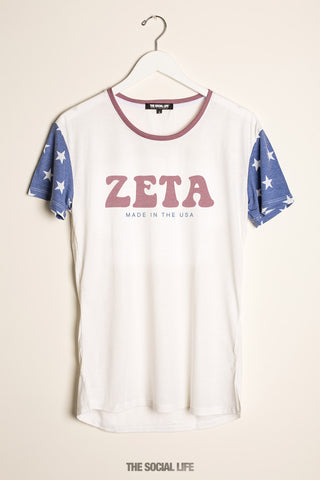 Zeta Tau Alpha Vintage USA Scoop Tee