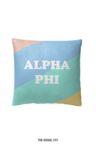 Alpha Phi Pastel Colorblock Pillow