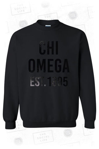 Chi Omega Black on Black Crewneck Sweatshirt