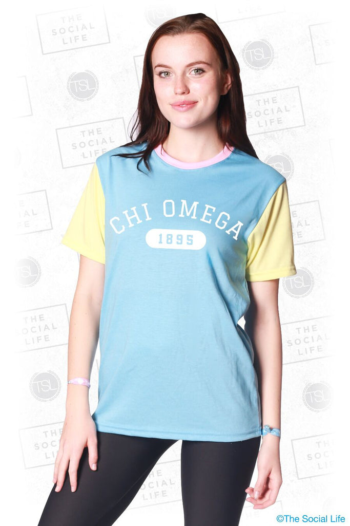 Chi Omega Color Block Tee