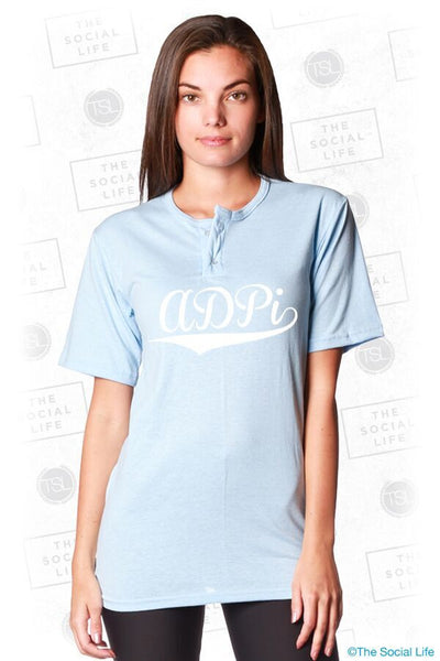 8d892df52 Alpha Delta Pi Light Blue Button Baseball Jersey – The Social Life