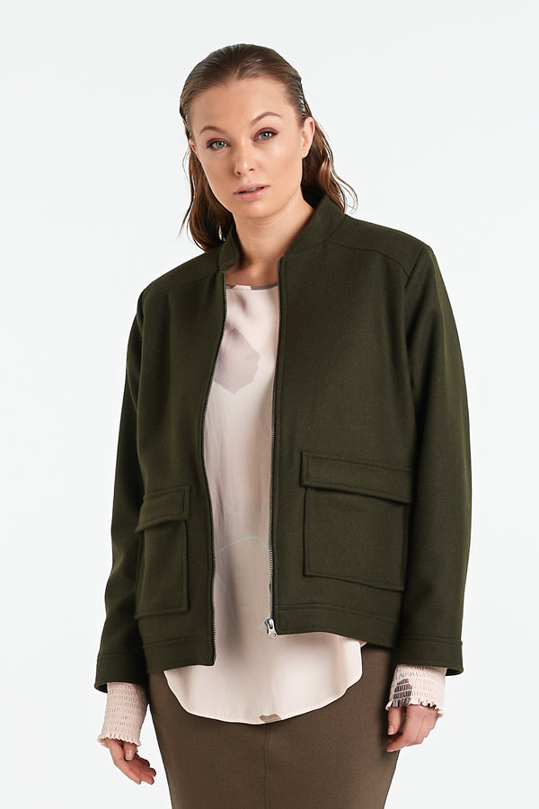 PAVEMENT JACKET | KHAKI - NYNE - NZ Made Women's Clothing