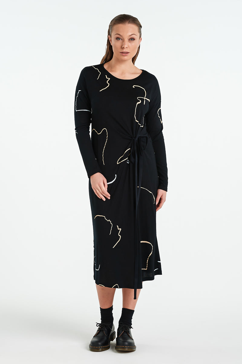 VISUAL LS DRESS  | BLACK OBJECT - NYNE - NZ Made Women's Clothing