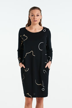 DISTANT LS DRESS  | BLACK - NYNE - NZ Made Women's Clothing