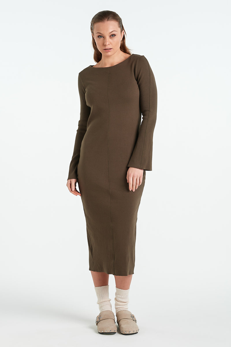 CLAY DRESS | KHAKI - NYNE - NZ Made Women's Clothing
