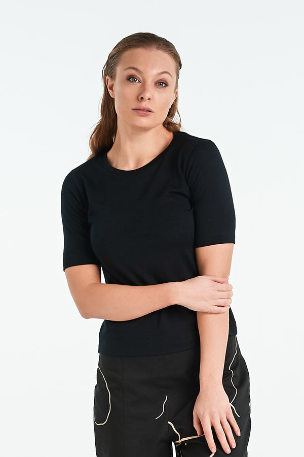 VENICE T-SHIRT | BLACK MERINO - NYNE - NZ Made Women's Clothing