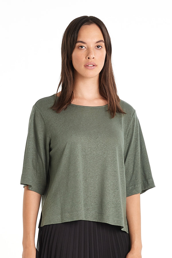 Linen Box T-shirt | Sage | NYNE | Online Store
