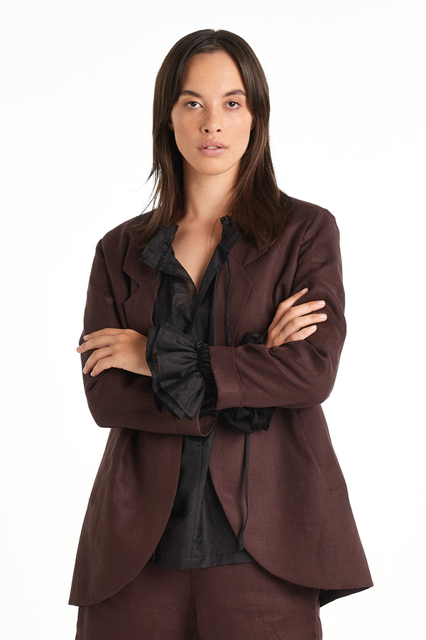 Press Blazer | Chocolate | NYNE | Online Store