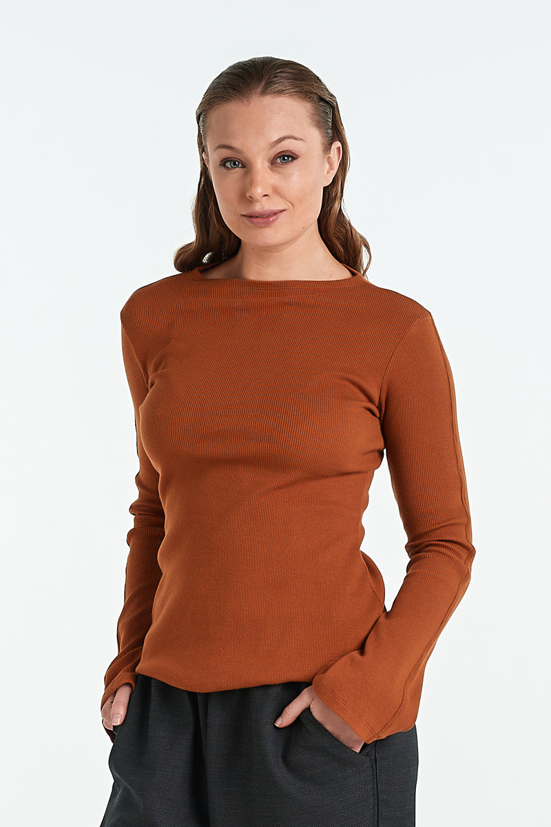MOSAIC TOP | TOBACCO - NYNE - NZ Made Women's Clothing