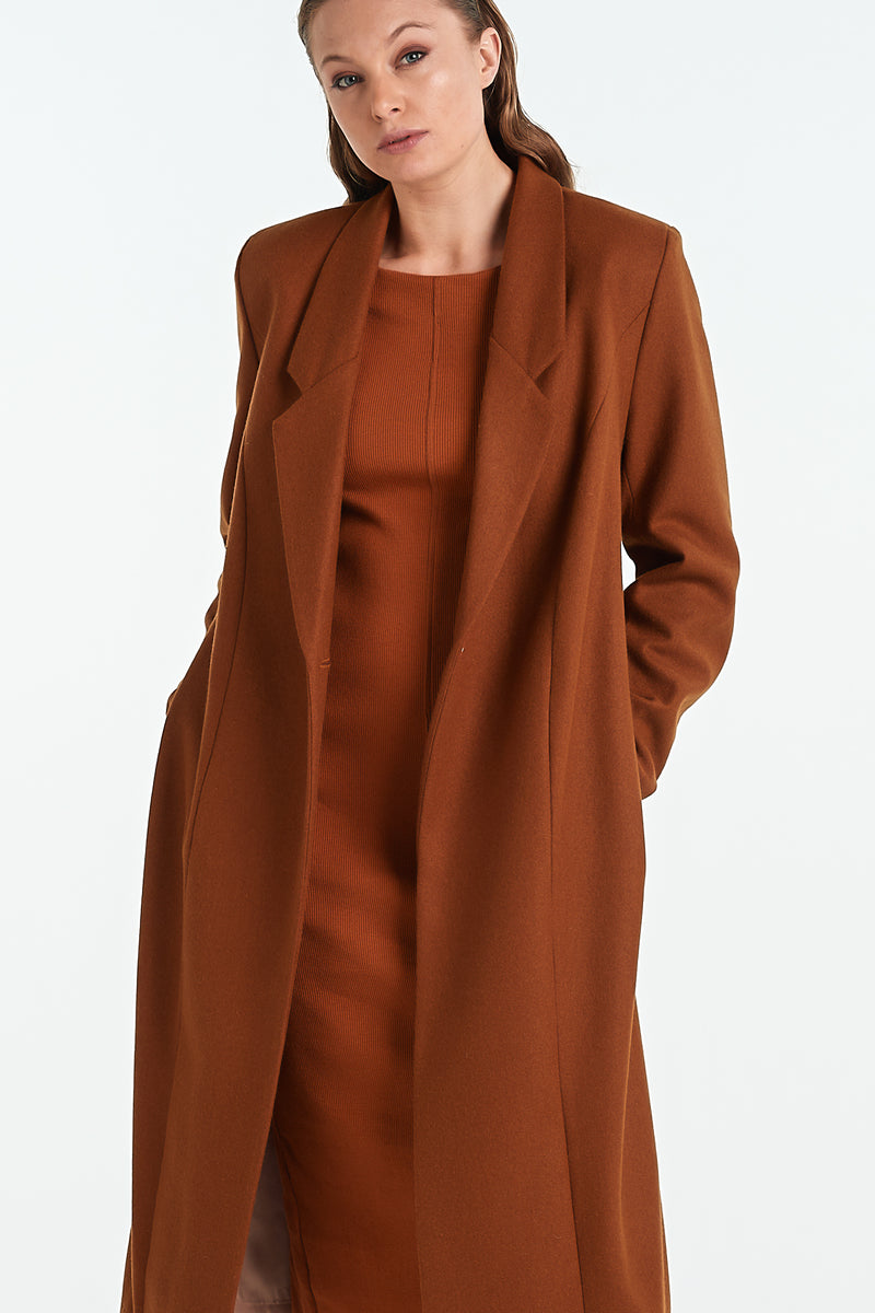 PEARL COAT | TOBACCO - NYNE - NZ Made Women's Clothing