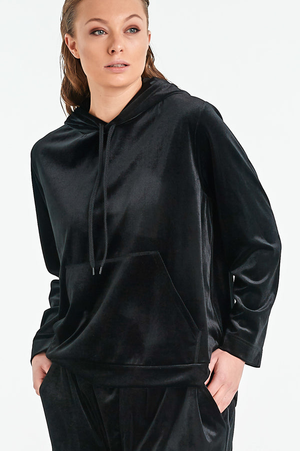 ONYX HOOD | BLACK VELVET - NYNE - NZ Made Women's Clothing