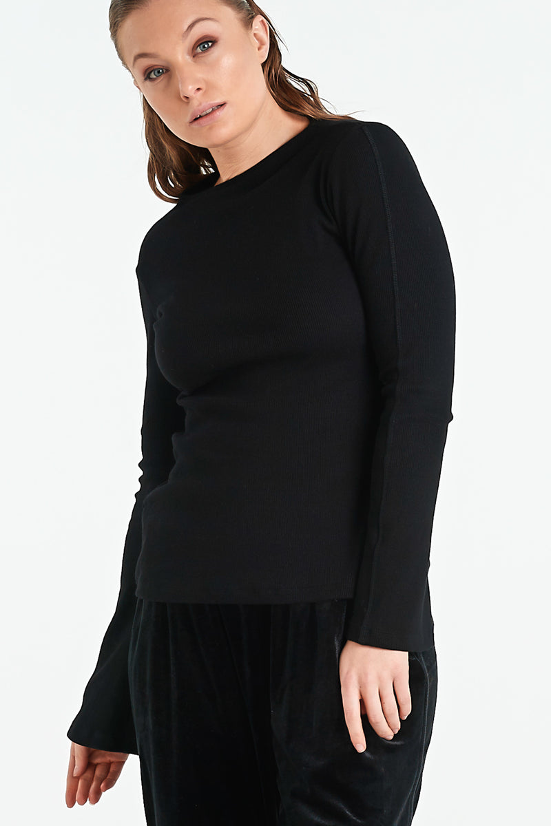MOSAIC TOP | BLACK MERINO - NYNE - NZ Made Women's Clothing