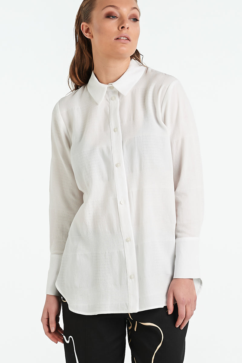 TEXTURE SHIRT | IVORY CHECK - NYNE - NZ Made Women's Clothing