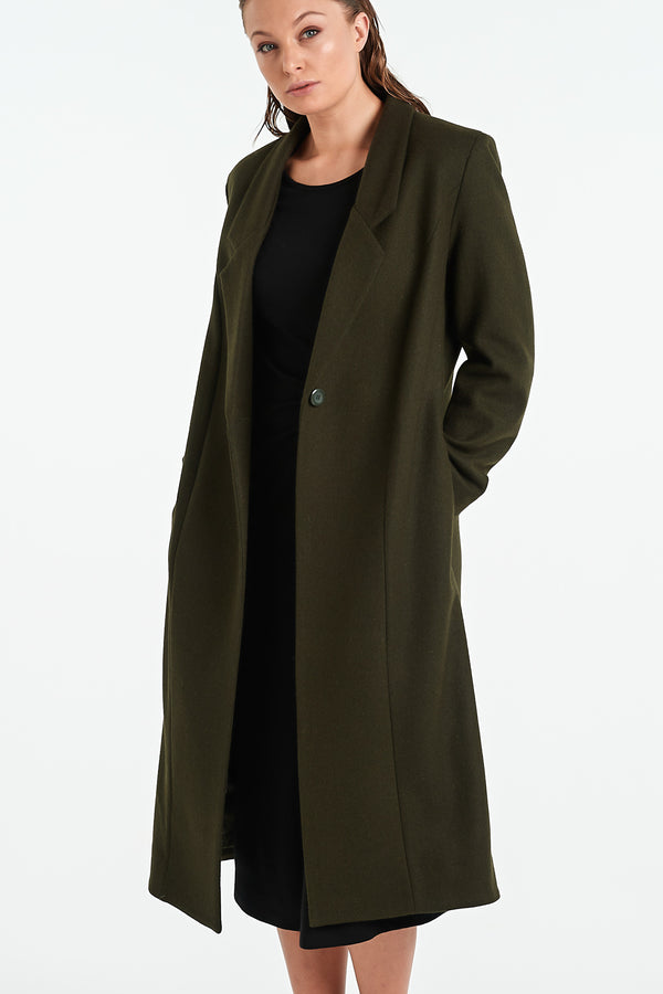 PEARL COAT | KHAKI - NYNE - NZ Made Women's Clothing