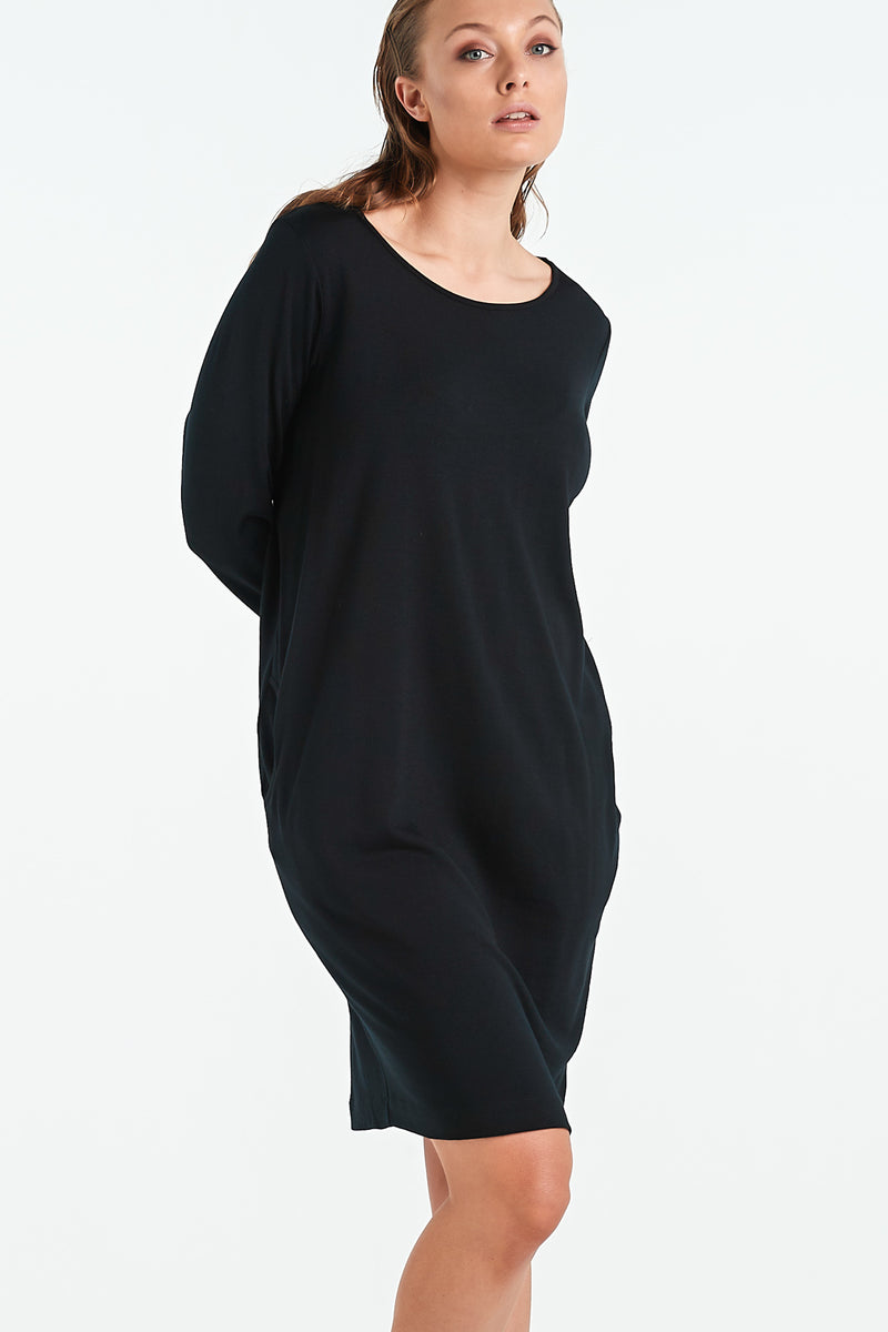DISTANT LS DRESS  | BLACK MERINO - NYNE - NZ Made Women's Clothing