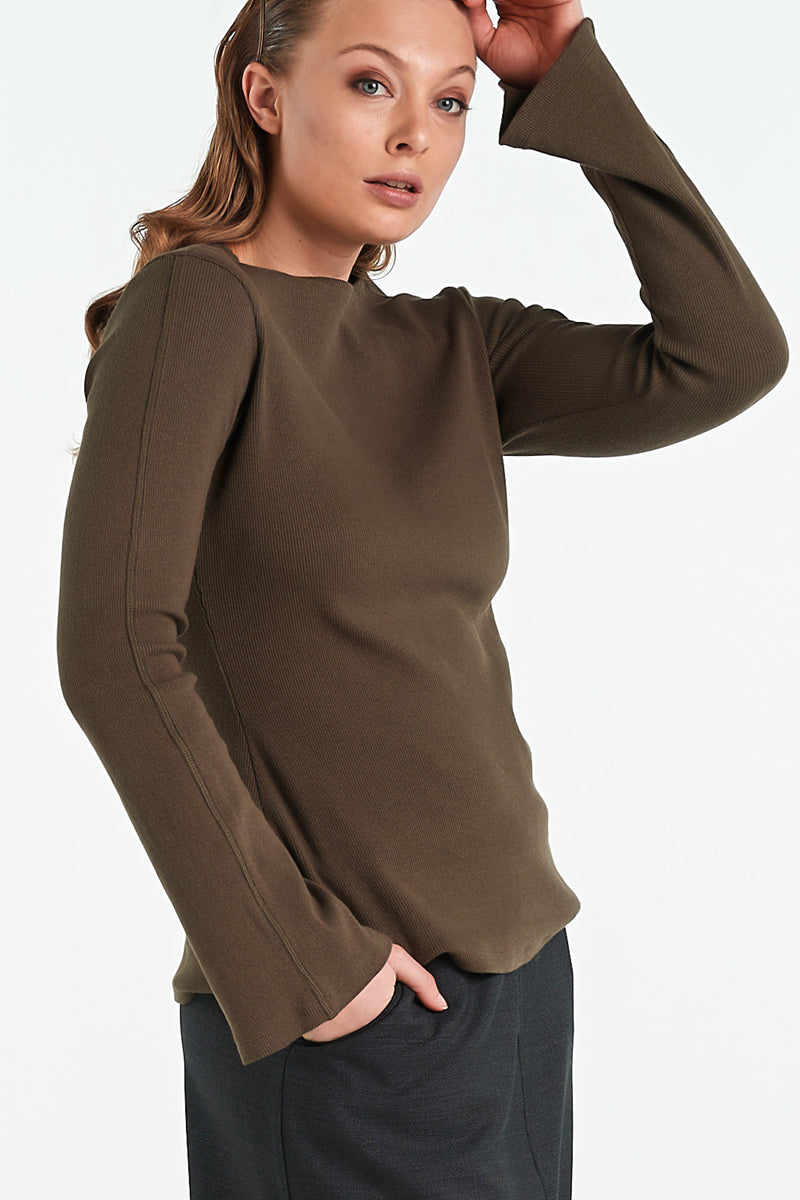 MOSAIC TOP | KHAKI - NYNE - NZ Made Women's Clothing