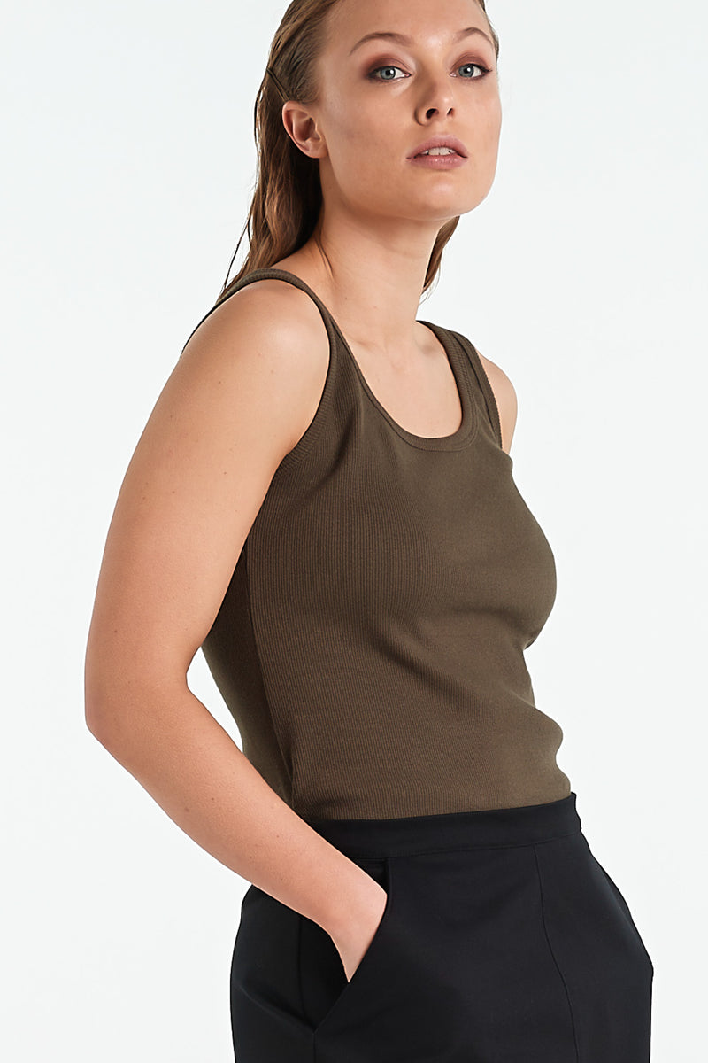 GLASS SINGLET | KHAKI - NYNE - NZ Made Women's Clothing