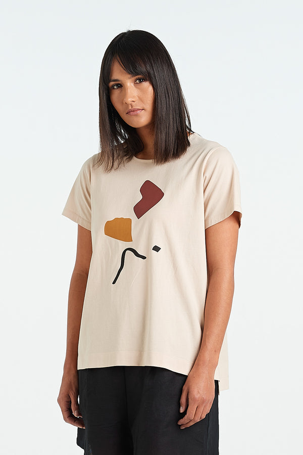 ABSTRACT TEE | SAND - NYNE - NZ Made Women's Clothing