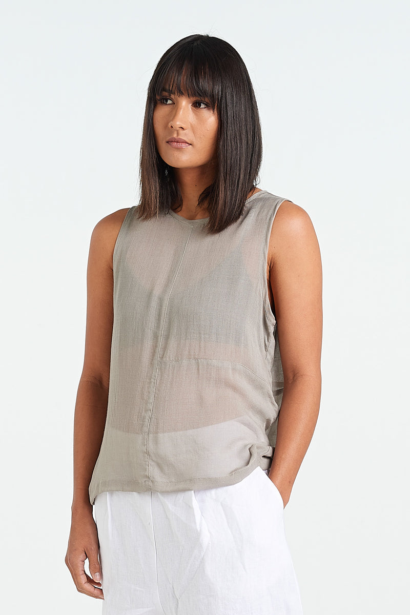 TEXTURE SINGLET | SAND - NYNE - NZ Made Women's Clothing