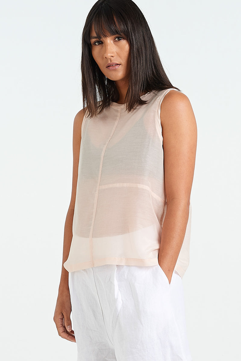 TEXTURE SINGLET | BLUSH COTTON SILK - NYNE - NZ Made Women's Clothing