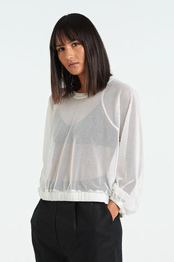 SHAPE LONGSLEEVE | WHITE MESH - NYNE - NZ Made Women's Clothing
