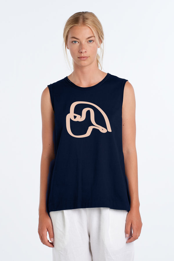 MARNIE SINGLET PEARY | INK W BLUSH - NYNE - NZ Made Women's Clothing