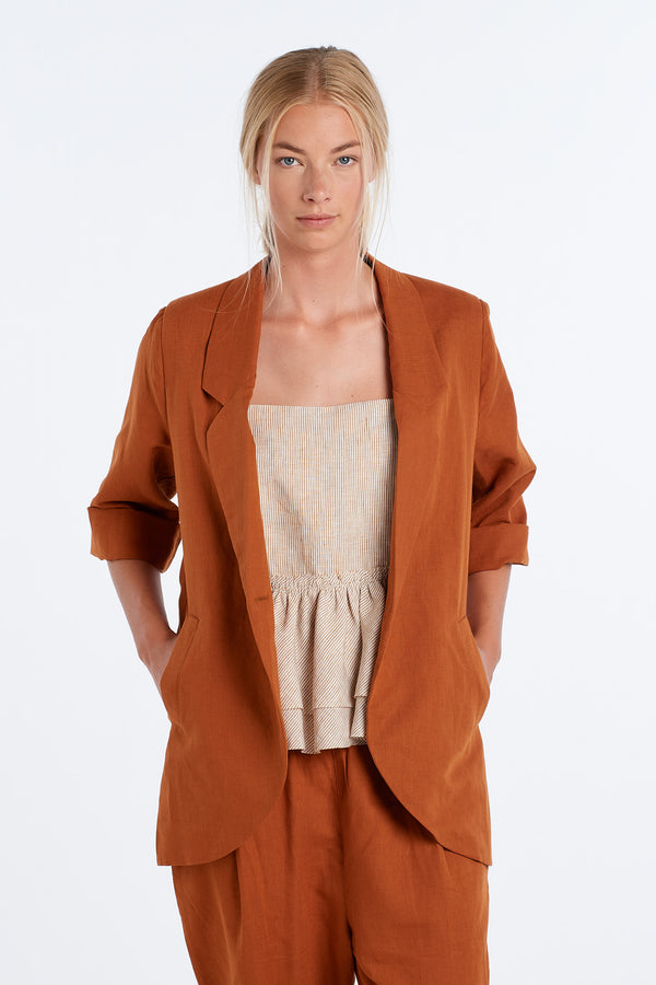 WORLD BLAZER | RUST - NYNE - NZ Made Women's Clothing