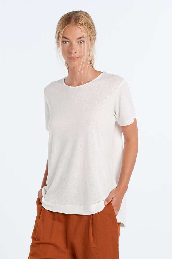 LIFESTYLE LINEN T-SHIRT | IVORY - NYNE - NZ Made Women's Clothing