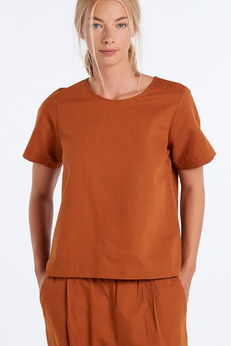 ARC TOP | RUST - NYNE - NZ Made Women's Clothing