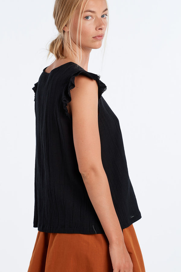 FORM TOP | BLACK GAUZE - NYNE - NZ Made Women's Clothing